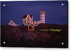 Merry Christmas At Nubble Acrylic Print by Skip Willits