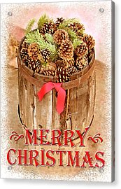 Acrylic Print featuring the photograph Merry Christmas Barrel by Cristophers Dream Artistry
