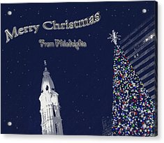 Merry Christmas From Philly Acrylic Print by Photographic Arts And Design Studio