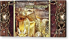 Merry Christmas Gold Acrylic Print by Mo T