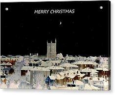 Merry Christmas Greeting Card Acrylic Print by Bishopston Fine Art