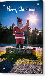 Merry Christmas Santa Claus Greeting Card Acrylic Print by Edward Fielding