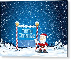 Merry Christmas Sign Santa Claus Winter Landscape Acrylic Print by Frank Ramspott