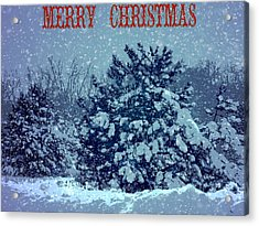 Merry Christmas Snow Acrylic Print