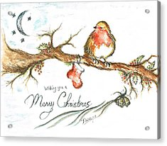 Merry Christmas Robin Acrylic Print by Teresa White
