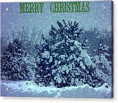 Merry Christmas Winter Scene Acrylic Print