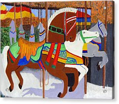 Acrylic Print featuring the painting Merry-go-round by Mary M Collins
