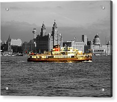 Mersey Ferry And Liverpool Waterfront Spot Colour Acrylic Print by Steve Kearns