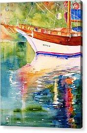Merve II Gulet Yacht Reflections Acrylic Print