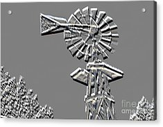 Metal Print Of Old Windmill In Gray Color 3009.03 Acrylic Print by M K  Miller