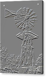 Metal Print Windmill Antique In Gray Color 3005.03 Acrylic Print by M K  Miller