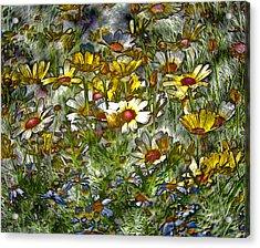 Metal Sunflowers Acrylic Print