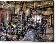 Metal Worker - Belts And Pullies Acrylic Print by Mike Savad