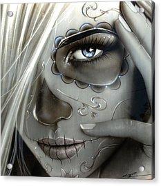 Sugar Skull - ' Metallic Decay ' Acrylic Print by Christian Chapman Art