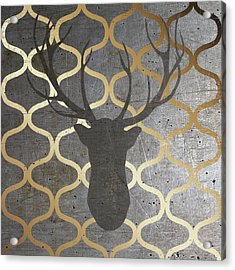 Metallic Deer Nature Acrylic Print by Andi Metz