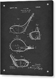 Metallic Golf Club Head 1926 Patent Art Black Acrylic Print by Prior Art Design