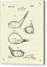 Metallic Golf Club Head 1926 Patent Art Acrylic Print by Prior Art Design