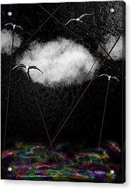 Metallic Seagulls Suspended Over A Rainbow Ocean Acrylic Print