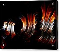 Acrylic Print featuring the digital art Metallic Swirls by Lea Wiggins