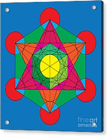 Metatron's Cube In Colors Acrylic Print