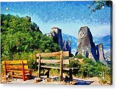 Meteora Acrylic Print by George Atsametakis