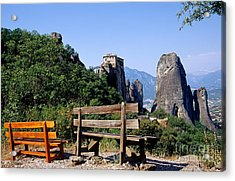 Meteora In Thessaly Acrylic Print by George Atsametakis