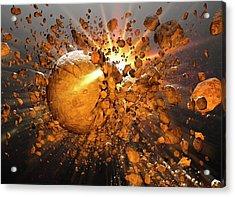 Meteors Making Impact In Space Acrylic Print