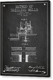 Method Of Drilling Wells Patent From 1906 - Dark Acrylic Print by Aged Pixel