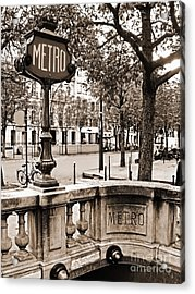 Metro Franklin Roosevelt - Paris - Vintage Sign And Streets Acrylic Print