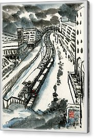 Acrylic Print featuring the painting Metro Train At Central Wester-end by Ping Yan