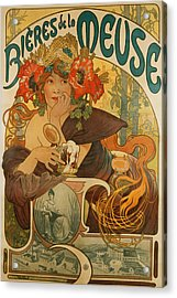 Meuse Beer Acrylic Print by Alphonse Marie Mucha