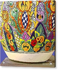 Mexican Ceramic Pottery Acrylic Print by Linda  Parker