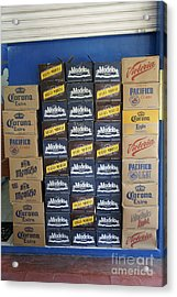 Mexican Cervezas Acrylic Print by John  Mitchell