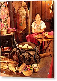 Mexican Girl Making Tortillas Acrylic Print by Roupen  Baker