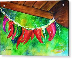 Hanging Jalapenos  Acrylic Print by Jane Ricker