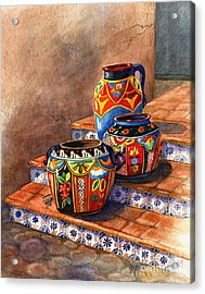 Mexican Pottery Still Life Acrylic Print by Marilyn Smith
