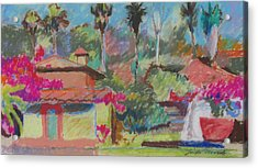 Acrylic Print featuring the painting Mexican Spa by Linda Novick