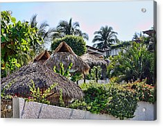 Mexican Thathed Roofs Acrylic Print by Linda Phelps