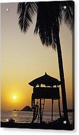Mexico, Silhouette Of Beach Bungalow Acrylic Print by Bill Schildge