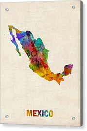 Mexico Watercolor Map Acrylic Print by Michael Tompsett