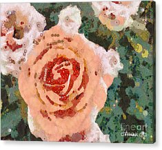Acrylic Print featuring the painting Alameda Meyers House Garden Klimt Rose by Linda Weinstock