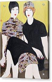 Mia Sorella IIi, 2004 Acrylic With Collage On Paper Acrylic Print by Susan Adams