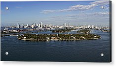 Miami And Star Island Skyline Acrylic Print