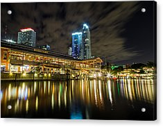 Miami Bayside At Night Acrylic Print by Andres Leon