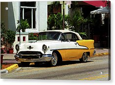 Miami Beach Classic Car With Watercolor Effect Acrylic Print by Frank Romeo