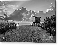 Miami Beach Entrance Sunrise - Black And White Acrylic Print