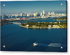 Acrylic Print featuring the photograph Miami City Biscayne Bay Skyline by Gary Dean Mercer Clark