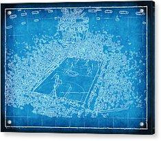 Miami Heat Arena Blueprint Acrylic Print by Joe Myeress