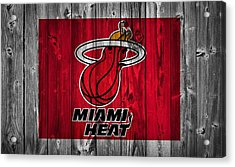 Miami Heat Barn Door Acrylic Print by Dan Sproul