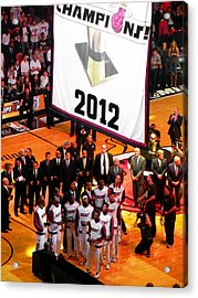 Miami Heat Championship Banner Acrylic Print by J Anthony